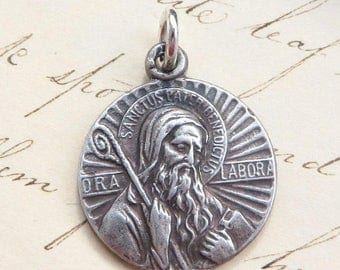 ON SALE St Benedict Medal - Patron against temptation and evil - Antique Reproduction