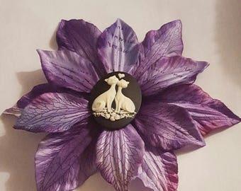 On SALE Cat, Love cat, Cat flower, Cat clip, Cat barrette, Catcon, MsFormaldehyde, Purple flower, flower clip
