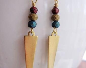 Gold Geometric Earring, Brass Triangle Earrings, Long Narrow, Blue Beaded, Art Deco, Modern, Gardendiva