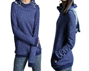 SALE - water cloud - zen cowl neck hoodie / blue hoodie / cowl neck sweater shirt / idea2lifestyle top (Y1520)