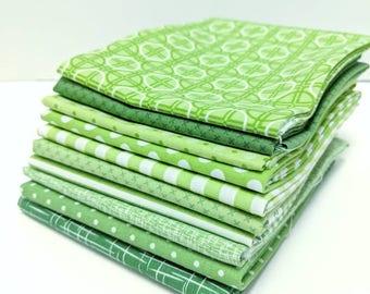 Green Fat Quarter Bundle - 10 FQ's