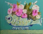 Fish, vase of flowers, print, blue, teal, roses, pink,
