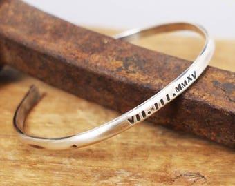 Men's Silver Cuff, Hammered Cuff, Rustic Silver Bracelet, Silver Anniversary Gift, Roman Numeral Date Bracelet, XXV