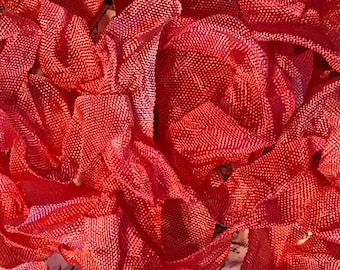 WORN LIPSTICK Crinkle Seam Binding Ribbon Crinkly Stained Hand Dyed Ribbon by Starry Nites Farm