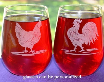 Hen and Rooster Engraved Glasses, Set of 2, Chicken Lovers Gift, Personalized Wedding or Anniversary Gift