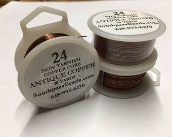 24 gauge Antique Copper Copper Craft Wire 20 yards Made in USA