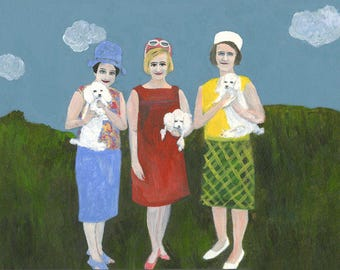 Dog ladies.  Limited edition print by Vivienne Strauss.