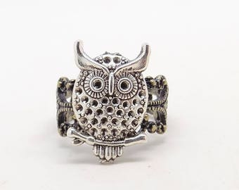 Steampunk jewelry. Steampunk owl ring.