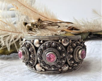 Large Ornate Vintage Siam Sterling Silver Multi Faceted Stone Cuff Bracelet