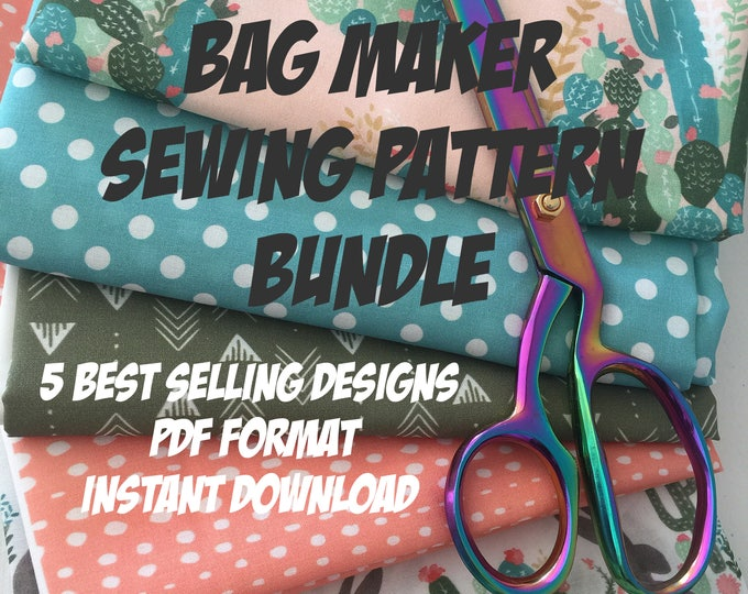 Featured listing image: Bag Making PDF Sewing Pattern Bundle --- Includes 5 PDF Tutorials with Instant Download --- Limited time offer