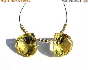 50% Off Sale 2 Pcs Match Pair 15mm AAA Lemon Quartz Concave Cut Heart Briolettes AAA Gemstone Briolette Concave Cut Beads