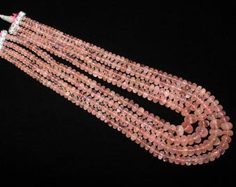 "20"" Natural Morganite Smooth Rondelle Beads 4 Strand Necklace / Morganite Rondelle Multi Strand Necklace Size 2x4 - 12x9mm"