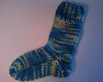 Childrens Hand Knit Hand Dyed Wool  Socks Blue Tweed Ages 1-2