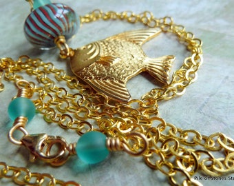 Ex Long Tropical Summer Necklace / Beach Vacation Fashion / Aqua Blue Sea Glass / Artisan Lampwork and Golden Fish Focal  / *Tides Necklace