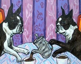 20 % off storewide Boston terrier tile, boston terrier art, tea room art, boston terrier gift, dog art, dog tile, tile, coaster, modern folk