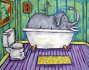 20% off Elephant Taking a Bath Art Tile Coaster