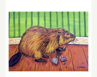Beaver Spring Cleaning Art print  JSCHMETZ modern abstract folk pop art AMERICAN ART gift