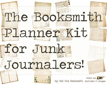 The Booksmith Planner Kit - Digital Download Vintage Junk Journal and Planner Page Kit  -  (22 digital pages) - available immediately