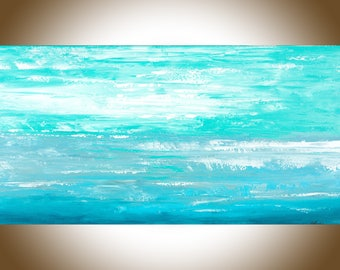 Abstract painting Turquoise blue original artwork modern art home decor wall art wall hanging painting on canvas by qiqigallery