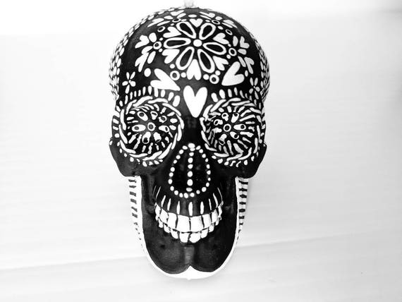 Skull ornament hand painted shatterproof Ornament sugar skull day of the dead black and white Christmas ornament