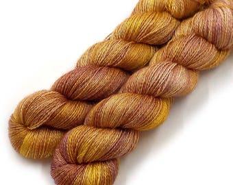 Hand Dyed Yarn Cashmere Silk Lace Yarn, 433 yards, Kabocha