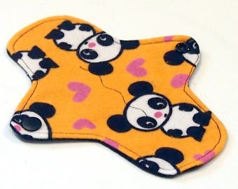 7 inch Reusable Cloth winged ULTRATHIN Pantyliner - Cotton flannel top - Orange Panda