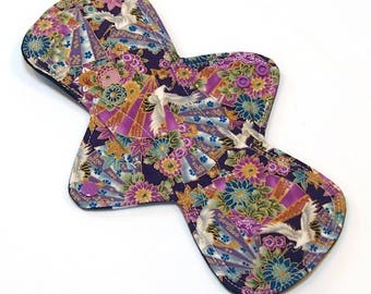 11 inch HEAVY flow Reusable Cloth Menstrual pad -bamboo core - waterproof PUL - quilter's cotton top in Purple Cranes
