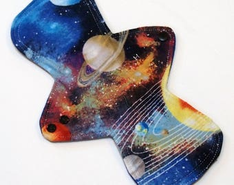 "11"" Heavy Flow Reusable Cloth Menstrual pad-bamboo core - waterproof PUL - cotton flannel top in Space"