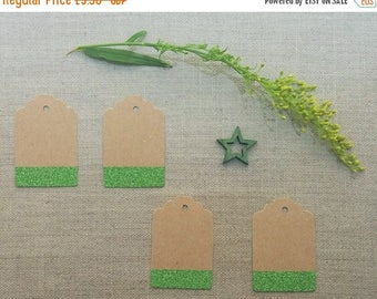 CLOSING DOWN SALE green sparkle glitter kraft gift tags price hang tags