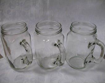 Vintage Mason Jar Glass Mugs