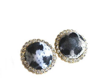 HALF PRICE SALE Black and white leopard animal print and crystal round gold post earrings Last One