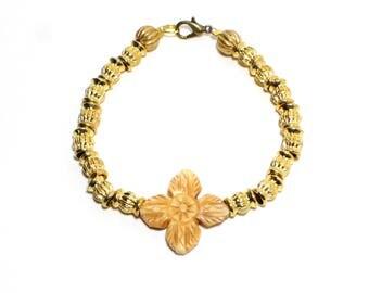Bohemian carved bone flower and golden beaded stackable bracelet