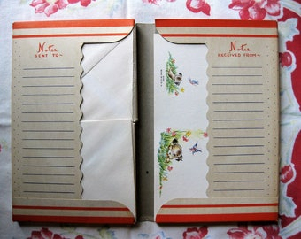 Reserved for MJ - Vintage  Stationery, Notes, Keepsake Noted, Small Color Illustrations, Personalized with Mildred