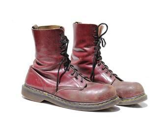 Vintage Men's Burgundy Leather Work Boots / size 10