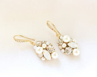 Gold bridal earrings, Gold Pearl earrings, Swarovski Wedding Earrings, Rhinestone Cluster Wedding Earrings, Swarovski Bridal Jewelry HEAVEN