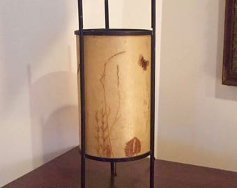 Vintage mission and craftsman table lamp rice paper with pressed leaves on frame cylinder round shape