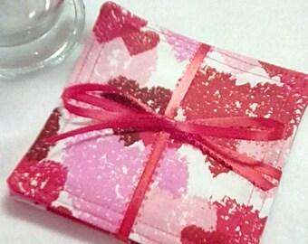 Mug Rug Set of 4,  HEARTS of LOVE, Fabric Coasters, Handmade, Hostess Gift, FREE Shipping in USa