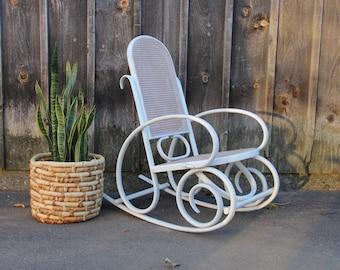 Boho Bentwood & Cane Rocking Chair