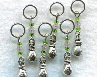 SALE Money Bags Stitch Markers No-snag Bags of Money and Pink Diamonds Set of 6/SM19