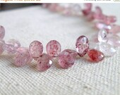 Deep Discount Sale Pink Rutilated Quartz Gemstone Briolette Faceted Pear Teardrop 8 to 9mm 30 beads