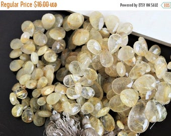 Deep Discount Sale Rutilated Quartz Briolette Gemstone Golden Faceted Pear Teardrop 9.5 to 10mm 9 beads