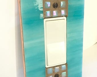 Turquoise Blue Switch Plate, Stained Glass Mosaic, Light Switch Cover, Decora Switch Plate, Dimmer Switch Cover, GFI GFCI Outlet, 8889