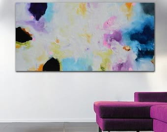 Purple Pink Blue Painting On Canvas White Abstract Art Colorful Lobby