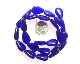 OnSale Cobalt Glass Flat Drop Shaped Beads Czech Glass Strand.