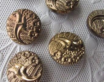6 Vintage 1970s Czech Glass Buttons Handmade Gold And Black Glass Czechoslovakia  #63