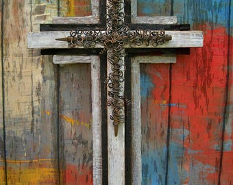 Distressed Wood Wall Cross.Wood Cross.Wooden Cross.Nail Cross.Father's Day Gift.Cross for Man.Masculine Cross.Large Wall Cross