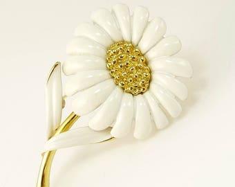 Vintage Monet White Enamel Flower Brooch Daisy Brooch