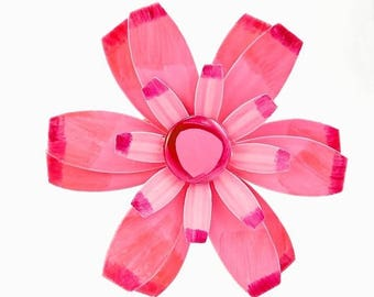 Vintage Mod Enamel Flower Brooch Hot Pink Large 4 Inch