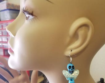 blue sugar skull earrings skull butterfly earrings dangles goth skeleton bead earrings day of the dead beaded punk jewelry