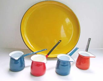 Vintage Enamel Ware 5 Piece Party Dipping Set, Tray, 4 Little Dippers, Primary Colors, Party Set, Outdoor Dining, 1960's Enamel Set